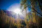 stock photo of karakoram  - Sunrise over mountain peak Northern area of Pakistan - JPG