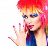 pic of colore  - Beauty Fashion Punk Model Girl with Colorful Dyed Hair - JPG