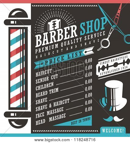 poster of Barber Shop vector price list template