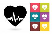 Heartbeat vector icon poster