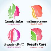 Постер, плакат: Beauty Salon Logo Icons And Design Elements