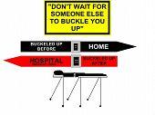 Seat Belt Safety Concept Sign