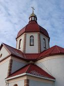 Orthodox Church'S Building With Red Cupolas