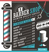 Barber Shop vector price list template poster