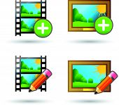 Vector icons upload and edit photo and video