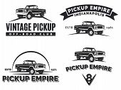 Постер, плакат: Set Of Suv Pickup Car Vector Emblems Labels And Logos