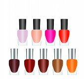 Bottles Of Nail Polish In Various Bright Colors On A White Background. poster