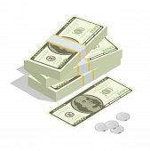Постер, плакат: Hundreds of dollars Stacked pile of cash Stack of US Dollars on white background Flat 3d isometri