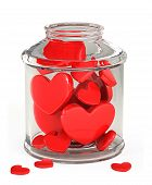 glass jar filled with hearts