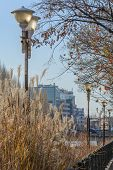 Постер, плакат: Bucharest Romania January 13: Dambovita River Embankment On January 10 2016 In Bucharest Vertic