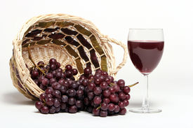 stock photo of wine grapes  - Red wine and grapes - JPG