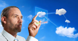 picture of computer technology  - Businessman works with Virtual Cloud Computer  - JPG