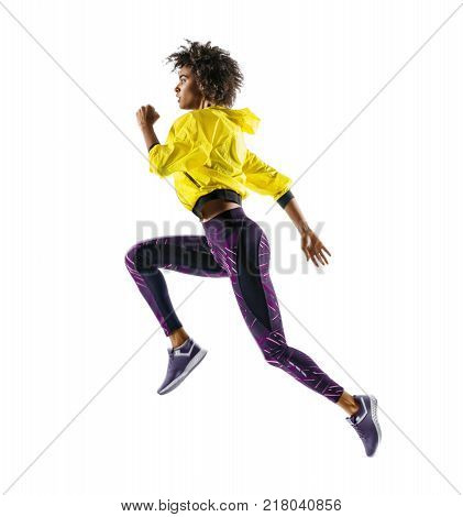 poster of African girl runner in silhouette on white background. Dynamic movement. Side view