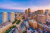 Boston, Massachusetts, USA downtown cityscape at dusk. poster