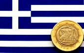 Euro on a Greek flag