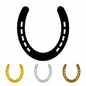 silhouette lucky irish horseshoe in black gold and silver