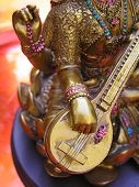picture of saraswati  - close up shot of a Saraswati statue Saraswati is the Hindu Godess of Music - JPG