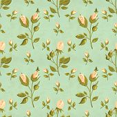 Seamless retro pattern (tiling) with rose flower in shabby chic style and old paper texture. Endless poster