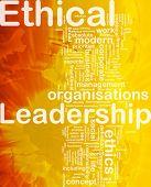 Konzept Wordcloud Hintergrund der internationalen ethischen Führung