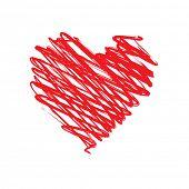 Coração vermelho sobre fundo branco