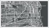 Chicago Illinois USA Map in Retro Style. Outline Map. poster