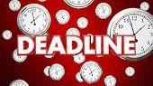Deadline Clocks Falling End Time Final Call 3d Illustration poster