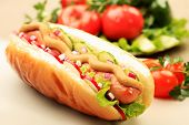 picture of hot dog  - Close up of hot dog - JPG