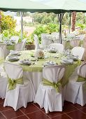 foto of wedding table decor  - gorgeous wedding chair and table setting for fine dining at outdoors - JPG