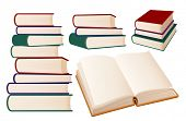 Stacks of books on white background, vector illustration.