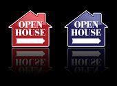 Red and Blue Open House Signs or Buttons. Please see my variations on this theme - more vector Real