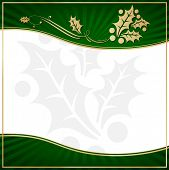 Exotic Green Holly Adorned Gift Tag or Label with Room for your own text.