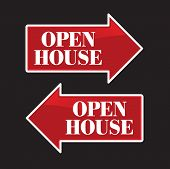 Open House Real Estate Arrow Signs in both directions.