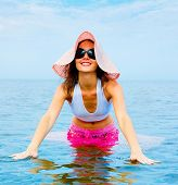 image of woman beach  - in a Hat Woman Beauty - JPG