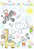 Happy children's and animals. Vector sketch on notebook page