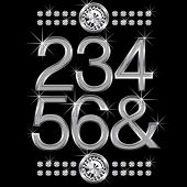 vector set of thin metal diamond letters and numbers big and small