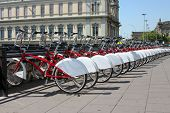 Bicycle parking in the city. Spain