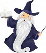 Illustration of a Fat Wizard Holding a Spell Book