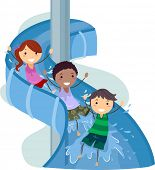 Illustration of Kids on a Water Slide
