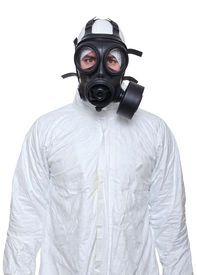 picture of s10  - fine portrait of man wearing protechion clothes and gas mask - JPG