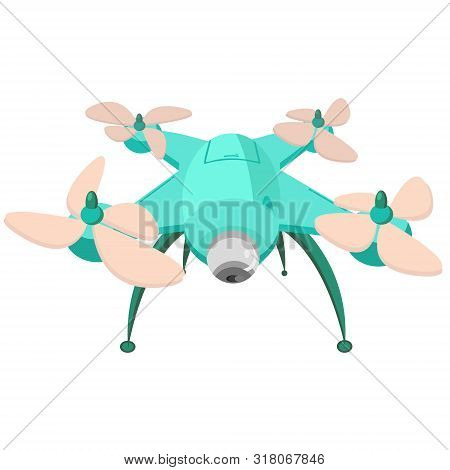 poster of Drone With The Camera. Modern Technology. Copter With Goods Flying In The Air. Quadcopter-courier, M