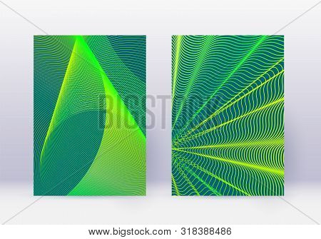 poster of Cover Design Template Set. Abstract Lines Modern Brochure Layout. Green Vibrant Halftone Gradients O