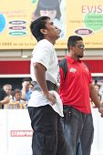 TOA PAYOH, SINGAPORE - MARCH 24 : Contender for Strongman Mohd Asri Abd Kadir taking a breather at t
