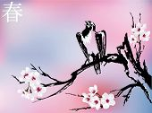 Постер, плакат: Птица на Сакура