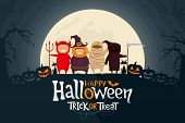 Happy Halloween. Children Dressed In Halloween Costume Ready To Go Trick Or Treat. Spooky Moonlight  poster