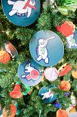 Decorations On The Christmas Tree. Christmas Tree Decorations And Decorations In The Design. poster