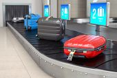 Baggage claim in airport terminal. Suitcases on the airport luggage conveyor belt. 3d illustration poster