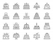 Cake Dessert Thin Line Icon Set. Outline Web Sign Kit Of Sweet Food. Birthday Party Linear Icons Of  poster