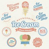 stock photo of milk-pint  - Retro Ice Cream Label And Vintage Set - JPG