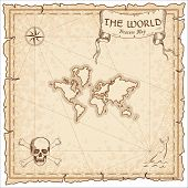 The World Pirate Map. Ancient Style Map Template. Old World Borders. Vector Illustration. poster