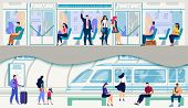 Metropolis Public Transport, Urban Passengers Transportation System Flat Vector. Female And Male Cit poster